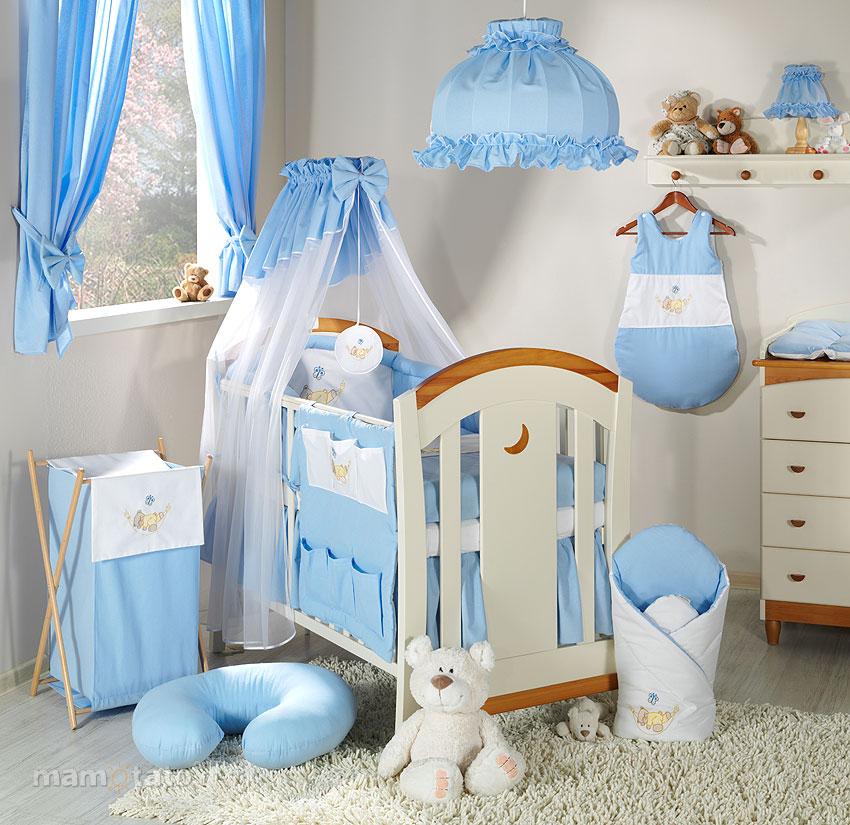 parure de lit b b brod e bleu 14ps linge de lit pour b b 140 70cm 120 60cm. Black Bedroom Furniture Sets. Home Design Ideas
